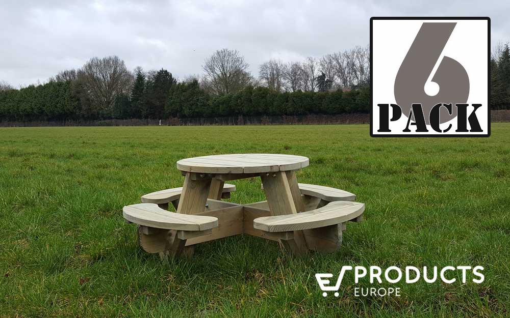 <BIG><B>Ronde Jimmy picknicktafel voor kleuters (120 x 120 cm)</B> (6-PACK)</BIG>