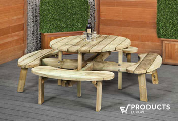 <BIG><B>Ronde ROYAL KING picknicktafel XXL (219 x 219 cm) (45mm!! Plankdikte & Parasolgat!)</B></BIG>