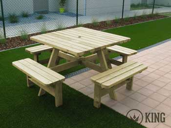 VIERKANTE Picknicktafels KING ® 200x200 cm. Picknicktafel voor 8 personen