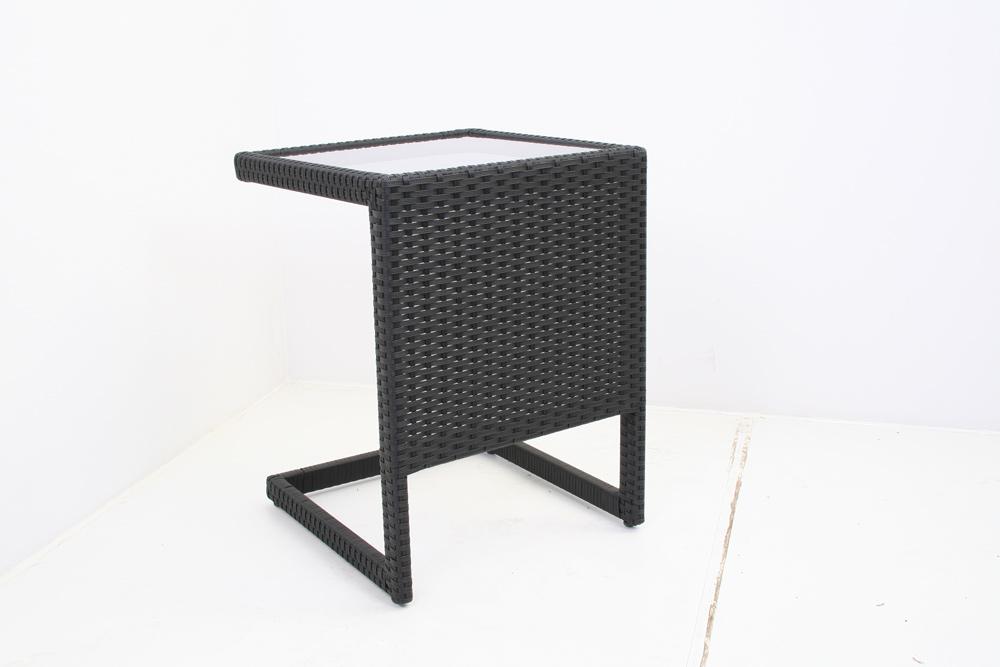 bijzettafel zwart glasplaat