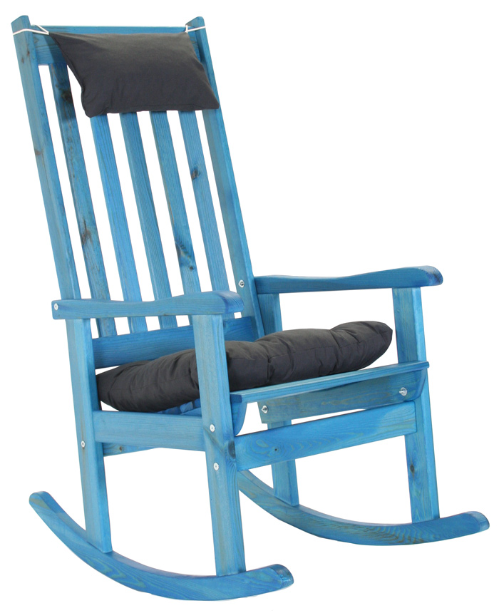 <BIG><B>fauteuil &agrave; bascule bleu Texas avec coussins</B></BIG>