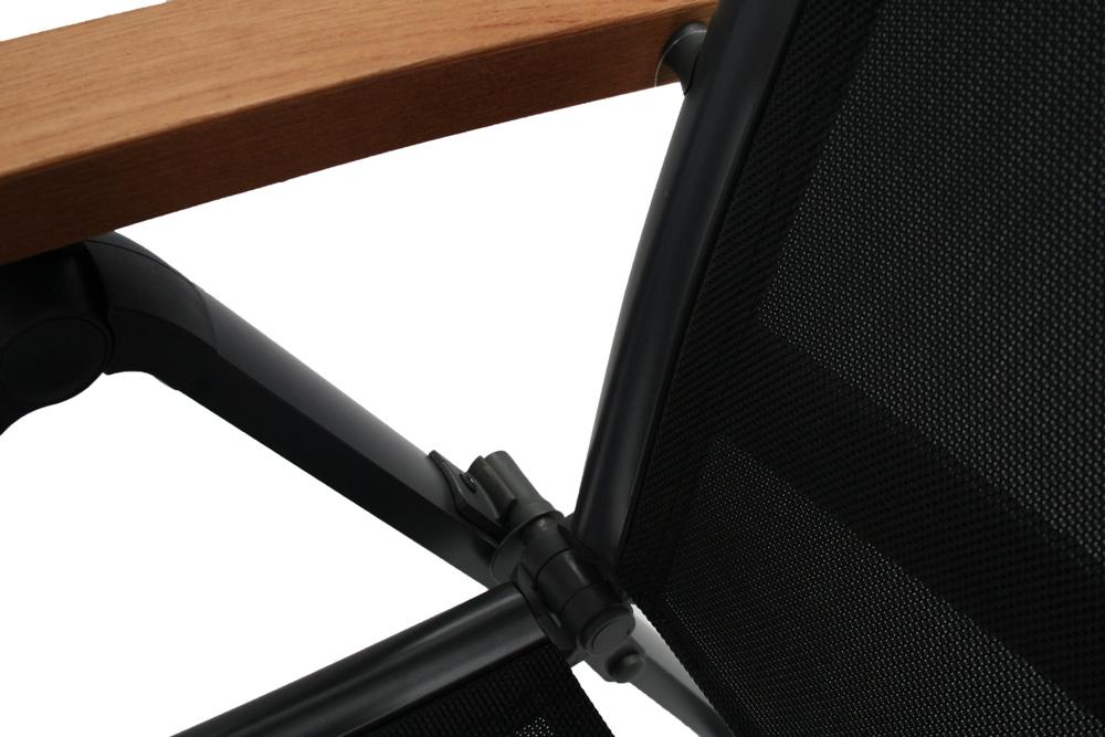 Chaise pliante Torino avec accoudoirs en teck