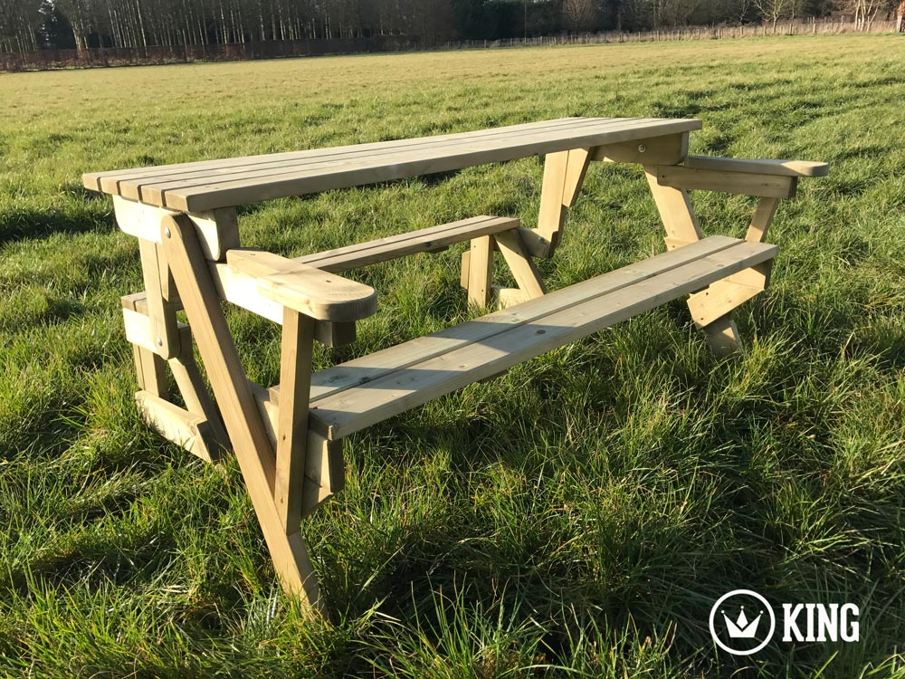 <BIG><B>KING &#174; Opvouwbare PICKNICKTAFEL 155 cm / 4 cm dikte (+ VIDEO)</B></BIG>