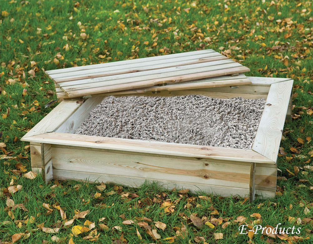 <BIG><B>Bac à sable carré avec couvercle (120 x 120 x 24 cm)</B></BIG>