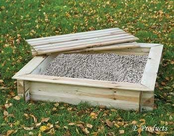 Vierkante zandbak met dekstel (100 x 100 x 24 cm)
